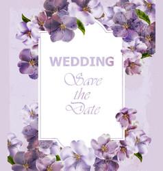 wedding invitation purple card spring vector image