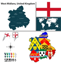 West Midlands with flags vector