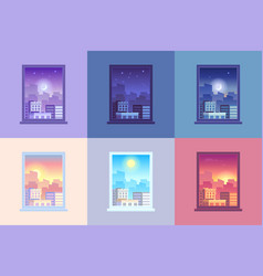 window day time view sunrise and sun dawn morning vector image