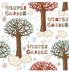 Winter Garden Seamless Pattern vector image