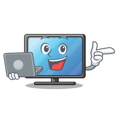 with laptop lcd tv cartoon in living room vector image