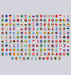 World national round flags europe america vector