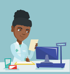 Young african pharmacist writing prescription vector