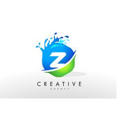 Z letter logo blue green splash design vector