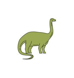 brontosaurus mono line vector image