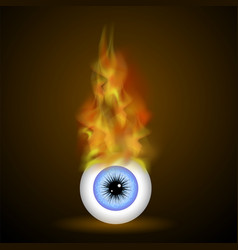 burning blue eye with fire flame vector image vector image