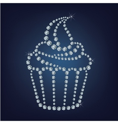Cupcake made up a lot of diamonds vector image