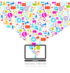 laptop computer with social media icons on white vector image vector image
