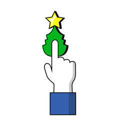 Pointing finger on christmas tree button human vector