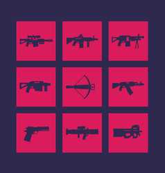 Weapons firearms icons set vector