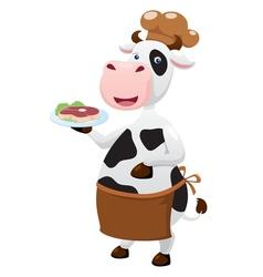 Cow cartoon with beef steak vector image vector image