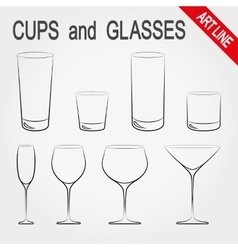 Cups and glasses vector image vector image