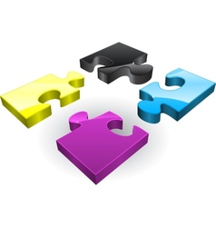 Four CMYK puzzles vector image vector image