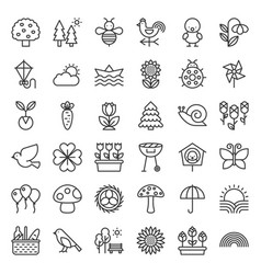 picnic nature and spring icon set vector image vector image