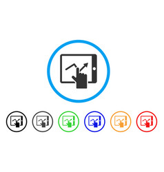 Tap trend on pda rounded icon vector