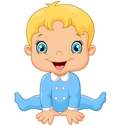 Cartoon baby boy wearing blue pajama vector