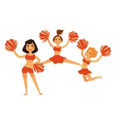 cheerleaders girls performing with cheerleading vector image