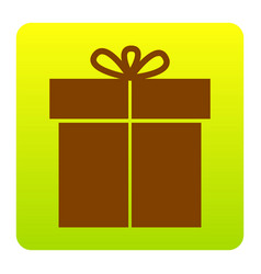 gift sign brown icon at green-yellow vector image vector image