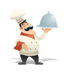 Happy Smiling Male Chief Cook Serving Dish Symbol vector image vector image