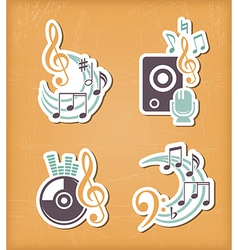 Music design paper cut elements vector image vector image