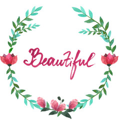 watercolor oval frame of flowers and leaves vector image vector image