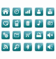web icons glossy blue vector image vector image
