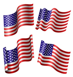 American flag set vector image