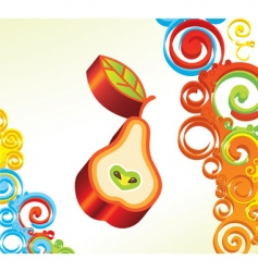 background with 3d pear vector image vector image