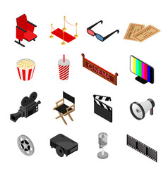 cinema color icons set isometric view vector image vector image