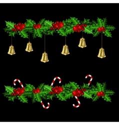 Green Christmas garlands of holly vector image