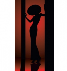 lady in hat silhouette vector image