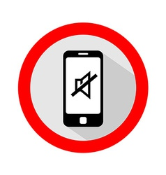 Mobile phone ringer volume mute sign vector image