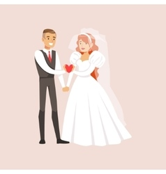Newlyweds Holding A Pink Heart Together At The vector image