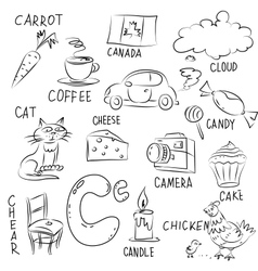 Set of pictures on Alphabet theme vector image