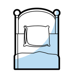 single bed wooden pillow bedding flat linear vector image