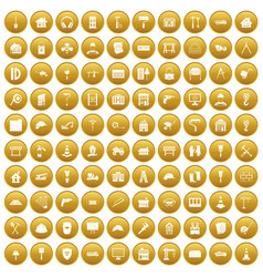 100 construction icons set gold vector