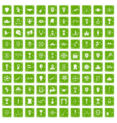 100 trophy and awards icons set grunge green vector