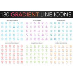 180 trendy gradient thin line icons set vector image