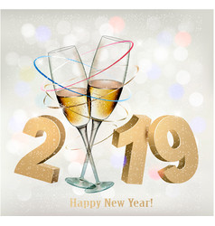 2019 new years background with gift vector image