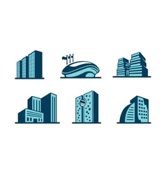 3d building icons set vector image