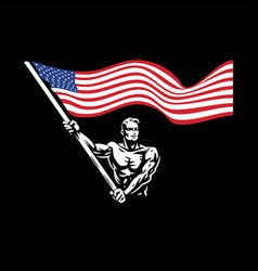 a man with a american flag vector image
