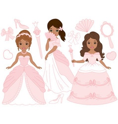African American Princesses Set vector image