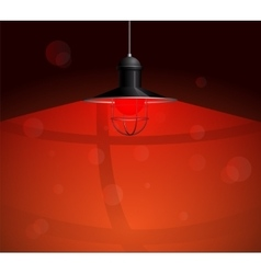 Ancient black lamp hanging with red bulb Big and vector image