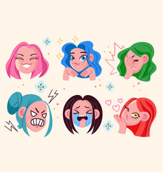 anime girl face head emoji with different emotions vector image