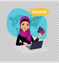 arab woman woman prepares documents on emigration vector image