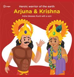 Banner design arjuna and krishna vector