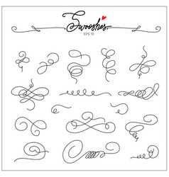 beautiful artistic set ink swooshes hand drawn vector image