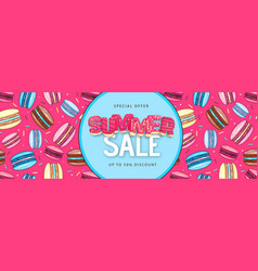 big sale poster with sweet macaron cakes vector image