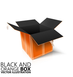 Black and orange open box 3d vector
