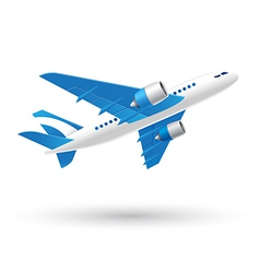 Blue and White Airplane Icon vector image